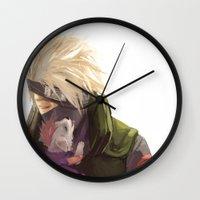 kakashi Wall Clocks featuring Ninja pup by Aleksandra Chabros aka Adelaida