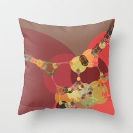 corrine - bright abstract of coral tan brown brick chartreuse Throw Pillow