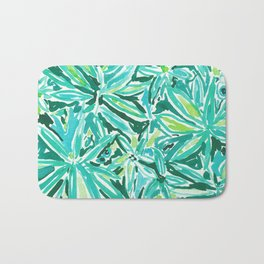 STAY CHILL Green Leaves Watercolor Bath Mat