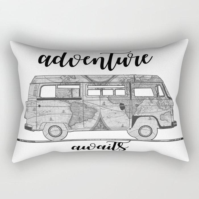 adventure awaits world map design Rectangular Pillow