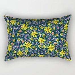 Wildflower Watercolor Pattern Rectangular Pillow