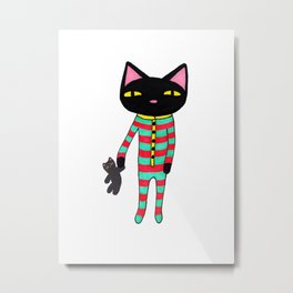 Sleepy Black Cat in Striped Pajamas with Plush Toy on Christmas Eve Metal Print