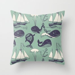 funny whales Throw Pillow