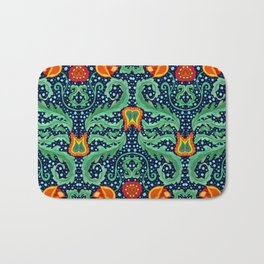 William Morris inspired Wallpaper pattern with Flowers and Leafs Bath Mat