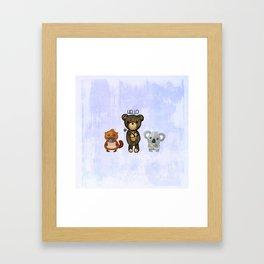 Bear Platypus and Koala Illustration on Purple Framed Art Print