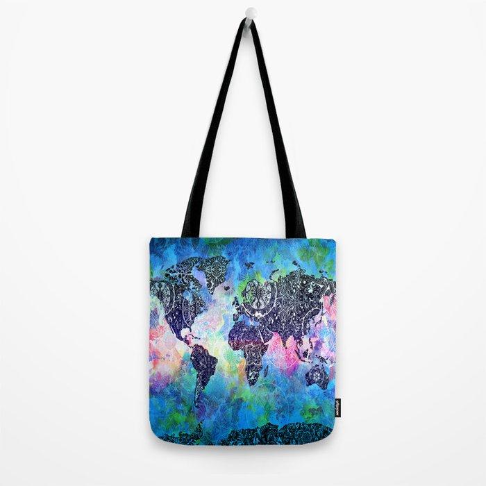 world map mandala watercolor Tote Bag