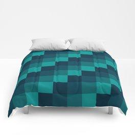 Ocean Waves - Pixel patten in dark blue Comforters