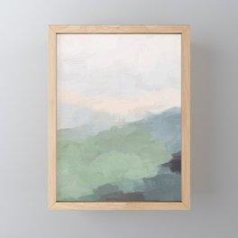Seafoam Green Mint Black Blush Pink III Abstract Nature Land Art Painting Art Framed Mini Art Print