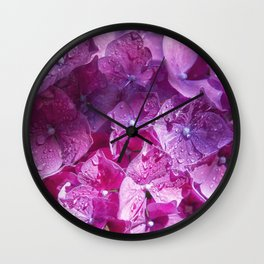 Pink Hydrangea Wall Clock