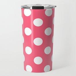 Brink pink - pink - White Polka Dots - Pois Pattern Travel Mug