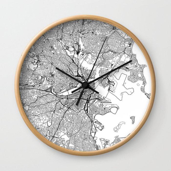 Boston White Map Wall Clock
