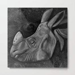 Indian Rhinoceros Metal Print