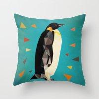 penguin Throw Pillows featuring penguin by gazonula