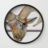goat Wall Clocks featuring Goat by WaterLily