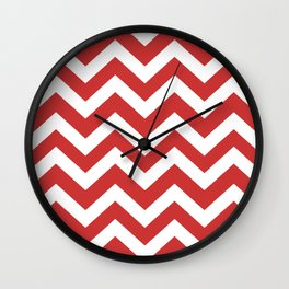Persian red - red color - Zigzag Chevron Pattern Wall Clock