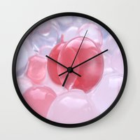 bubbles Wall Clocks featuring Bubbles by Tanja Riedel