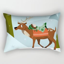 Christmas deer and elf Rectangular Pillow