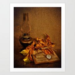 Vintage petroleum lamp, book and watch Art Print