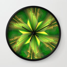 Fractal Green Star Flower Wall Clock