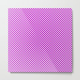 Dazzling Violet and White Polka Dots Metal Print