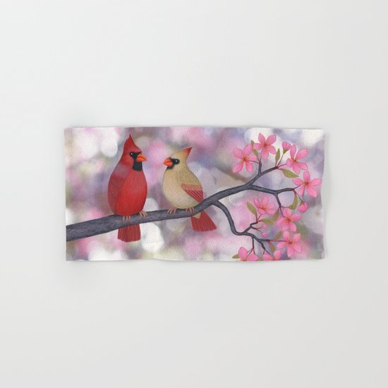 cardinals and crab apple blossoms Hand & Bath Towel