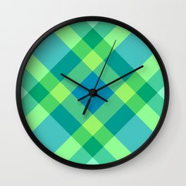 Mid-Century Modern Plaid, Jade Green, Turquoise and Blue Wall Clock