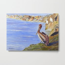 Pelican And Snowy Egrets On A Jetty Metal Print