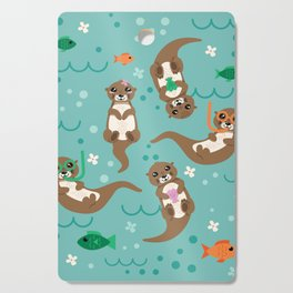 Kawaii Otters Playing Underwater Cutting Board