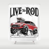 1975 Shower Curtains featuring 280z GASSER by SCREAMNJIMMY