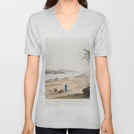 General View of the Pyramids  from the kings tombs in Thebes by Giovanni Battista Belzoni (1778-1823 Unisex V-Neck