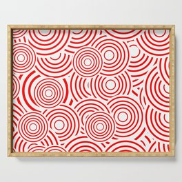 circles in red and white Serving Tray