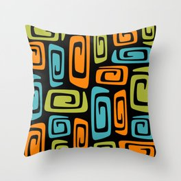 Mid Century Modern Cosmic Abstract 739 Black Green Blue and Orange Throw Pillow
