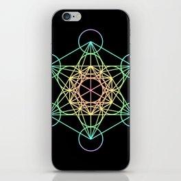 Metatron's Cube- Rainbow on Black iPhone Skin