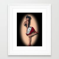 minnie mouse Framed Art Prints featuring Minnie by Hayley Blythe Art