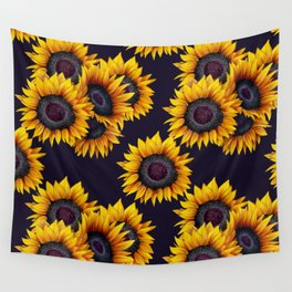 Sunflowers yellow navy blue elegant colorful pattern Wall Tapestry