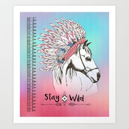 Stay Wild Boho Horse with Tribal Feathers Art Print