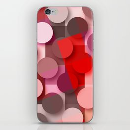 dots & squares red iPhone Skin
