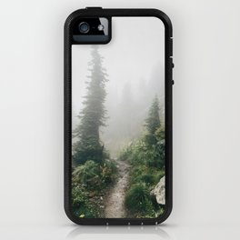 Foggy, Windworn Pines at Glacier National Park iPhone Case