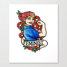 Feminist rosie the riveter Canvas Print