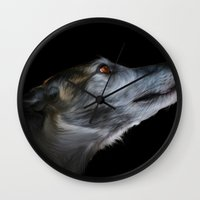 greyhound Wall Clocks featuring Greyhound by Julie Hoddinott