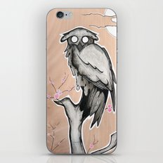 Owl on the branch with a full moon iPhone & iPod Skin