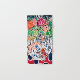 Lion, Cheetah and Tiger Still Life - Wildflowers in Wild Cat Vase After Matisse Hand & Bath Towel