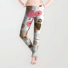 Pink Boho Animals Leggings