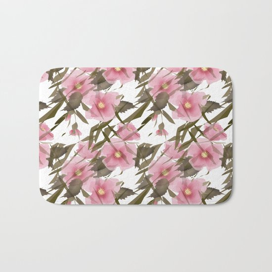 Pink white floral pattern . Bath Mat