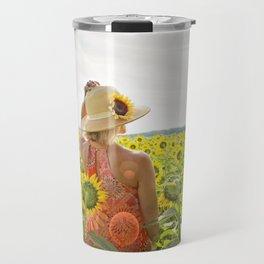 Woman in Sunflower Field Landscape Travel Mug