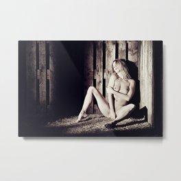 Very beautiful nude woman lying in the hay Metal Print