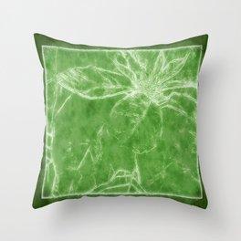 Mottled Red Poinsettia 1 Ephemeral Outlined Green Throw Pillow
