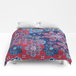Dhalia Red and Blue Comforters