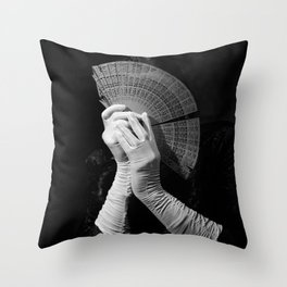 The white folding fan Throw Pillow
