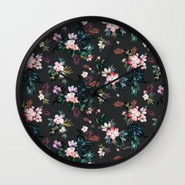 Layla - Tropical Floral - black Wall Clock